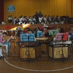 Western instruments on stage, Chinese instruments on the floor - practice run